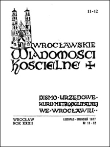 Wrocławskie Wiadomości Kościelne. R. 32 (1977), nr 11/12