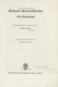 Tilmann Riemenschneider : ein Gedenkbuch