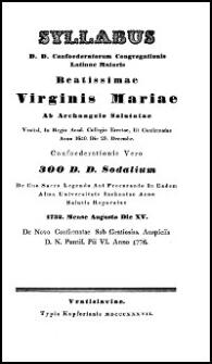 Syllabus D. D. Confoederatorum Congregationis Latinae Maioris Beatissimae Virginis Mariae ab Archangelo Salutatae. 1837
