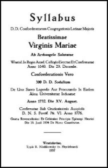 Syllabus D. D. Confoederatorum Congregationis Latinae Maioris Beatissimae Virginis Mariae ab Archangelo Salutatae. 1937