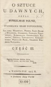 O sztuce u dawnych, czyli Winkelman Polski, Stanisława Potockiego. Część III