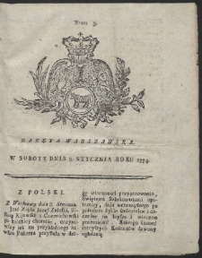 Gazeta Warszawska. R.1774 Nr 3