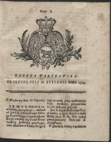 Gazeta Warszawska. R.1774 Nr 8