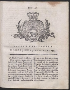 Gazeta Warszawska. R.1774 Nr 37
