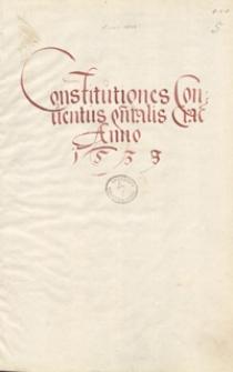 Constitutiones conventus generalis Cracoviensis anno 1539 sabbato in cristino s. Valentini