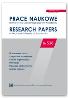 Spis treści [Prace Naukowe Uniwersytetu Ekonomicznego we Wrocławiu = Research Papers of Wrocław University of Economics; 2018; Nr 538]