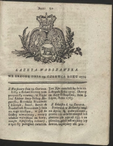 Gazeta Warszawska. R.1774 Nr 52