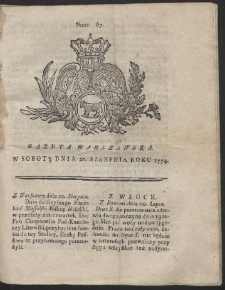 Gazeta Warszawska. R.1774 Nr 67