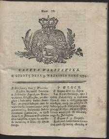 Gazeta Warszawska. R.1774 Nr 71