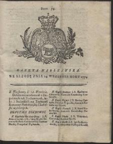 Gazeta Warszawska. R.1774 Nr 74
