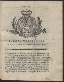 Gazeta Warszawska. R.1774 Nr 75