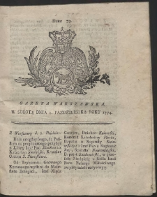Gazeta Warszawska. R.1774 Nr 79