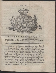 Gazeta Warszawska. R.1774 Nr 84