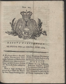 Gazeta Warszawska. R.1774 Nr 102