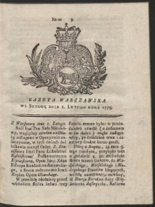 Gazeta Warszawska. R.1775 Nr 9