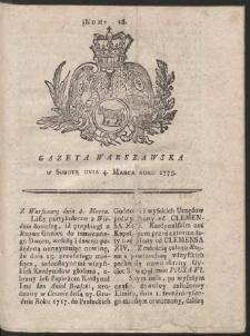Gazeta Warszawska. R.1775 Nr 18