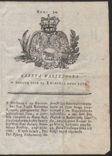 Gazeta Warszawska. R.1775 Nr 34