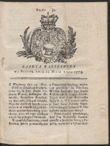 Gazeta Warszawska. R.1775 Nr 41