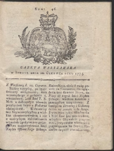 Gazeta Warszawska. R.1775 Nr 46