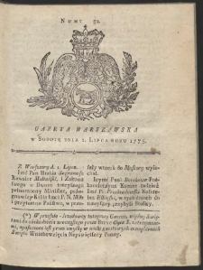 Gazeta Warszawska. R.1775 Nr 52