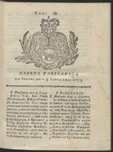 Gazeta Warszawska. R.1775 Nr 53