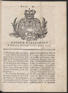 Gazeta Warszawska. R.1775 Nr 60