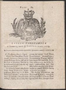 Gazeta Warszawska. R.1775 Nr 62