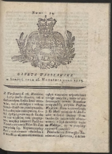 Gazeta Warszawska. R.1775 Nr 74