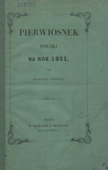 Pierwiosnek Polski Na Rok 1851 Lower Silesian Digital Library