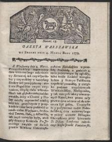 Gazeta Warszawska. R.1778 Nr 18