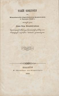 Treść odczytów we Wszechuczelni Jagiellońskiéj Krakowskiéj w styczniu 1849 r. mianych przez Jana Nep. Deszkiewicza, objaśniających układ jego Grammatyki polskiéj i rozwiązujących największe trudności grammatyczne