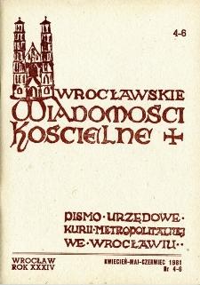 Wrocławskie Wiadomości Kościelne. R. 34 [i.e. 36] (1981), nr 4/6