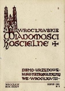Wrocławskie Wiadomości Kościelne. R. 34 [i.e. 36] (1981), nr 8