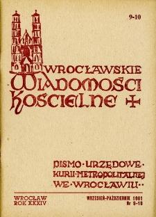 Wrocławskie Wiadomości Kościelne. R. 34 [i.e. 36] (1981), nr 9/10