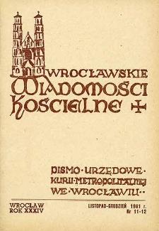 Wrocławskie Wiadomości Kościelne. R. 34 [i.e. 36] (1981), nr 11/12