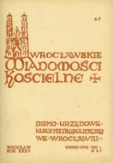 Wrocławskie Wiadomości Kościelne. R. 35 (1982), nr 6/7