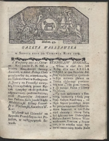 Gazeta Warszawska. R.1778 nr 49