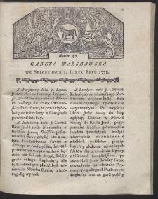 Gazeta Warszawska. R.1778 Nr 52
