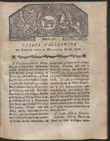 Gazeta Warszawska. R.1778 Nr 70