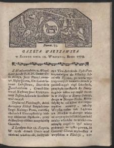 Gazeta Warszawska. R.1778 Nr 73