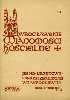 Wrocławskie Wiadomości Kościelne. R. 36 (1983), nr 1/3