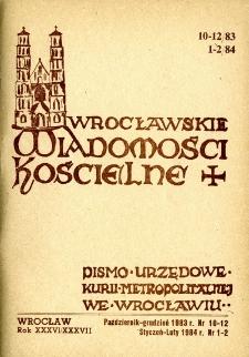 Wrocławskie Wiadomości Kościelne. R. 36/37 (1983/1984), nr 10/12-1/2