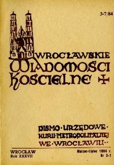 Wrocławskie Wiadomości Kościelne. R. 37 (1984), nr 3/7