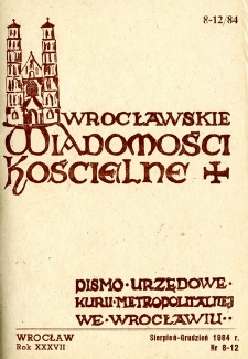 Wrocławskie Wiadomości Kościelne. R. 37 (1984), nr 8/12