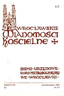 Wrocławskie Wiadomości Kościelne. R. 40 (1987), nr 1/3