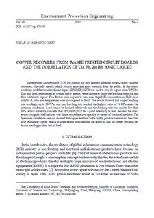 Copper recovery from waste printed circuit boards and the correlation of Cu, Pb, Zn by ionic liquid