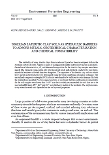 Nigerian lateritic clay soils as hydraulic barriers to adsorb metals. Geotechnical characterization and chemical compatibility