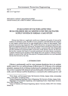 Evaluation of factors affecting bulk chlorine decay kinetics for the Zai water supply system in Jordan. Case study