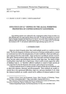 Influence of Ce3+ doping on the algal inhibiting properties of copper/sepiolite nanofibers