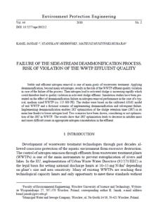 Failure of the side-stream deammonification process. Risk of violation of the WWTP effluent quality